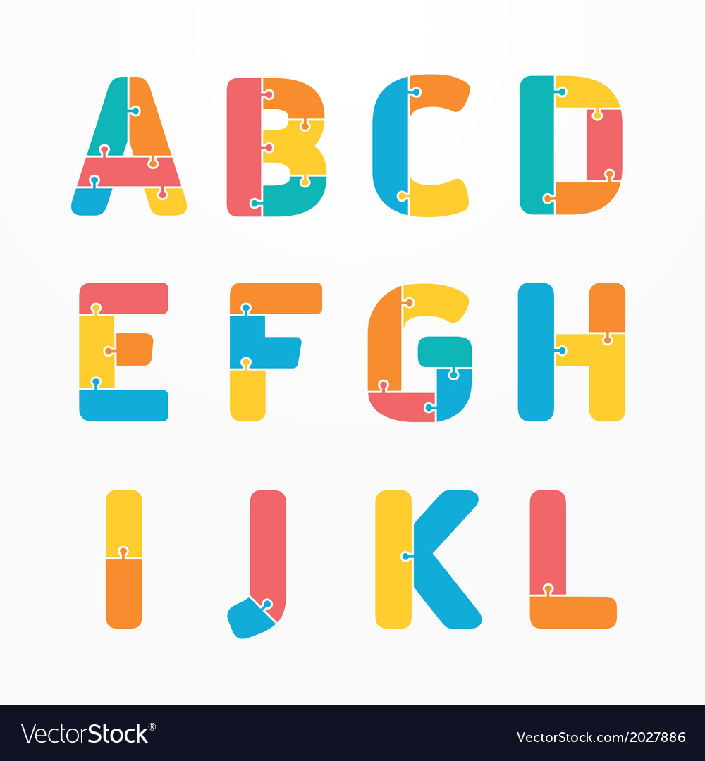 Alphabet jigsaw concept vector | Price: 1 Credit (USD $1)