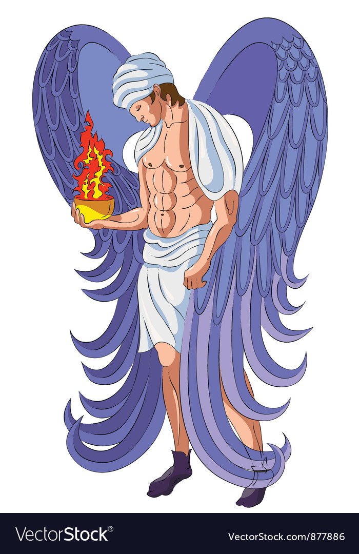 Angel with fire censer vector | Price: 3 Credit (USD $3)