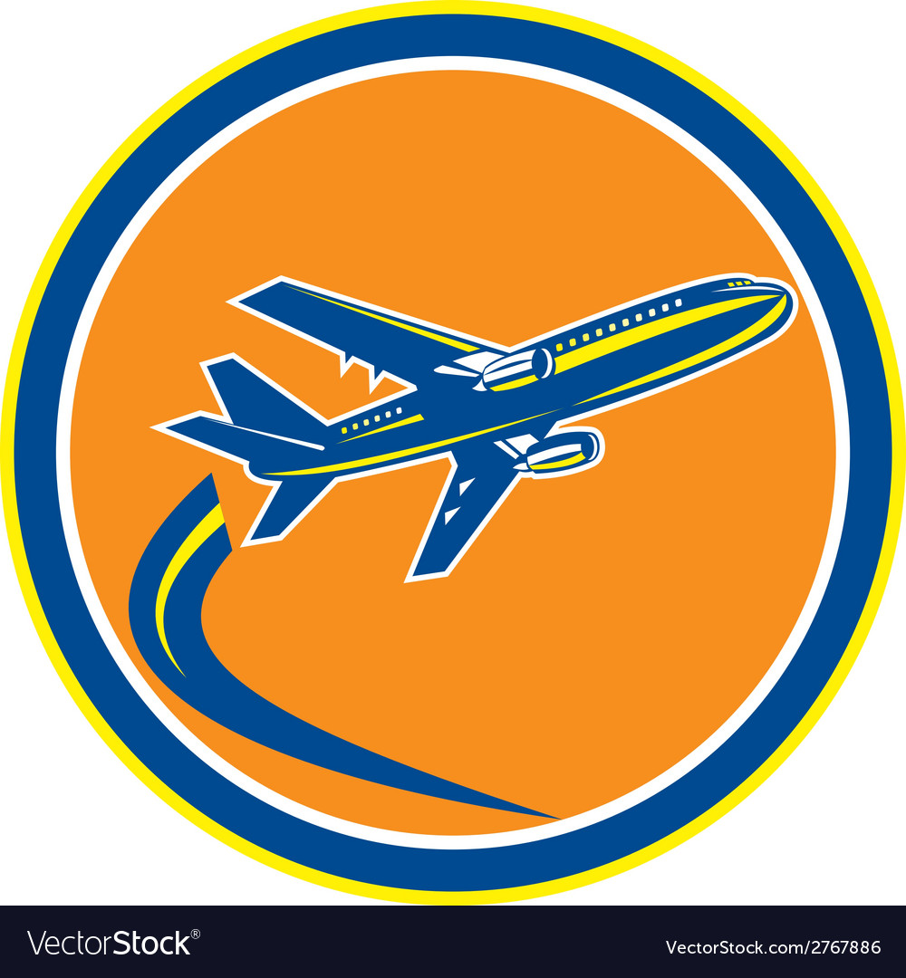 Commercial jet plane airline flying retro vector   Price: 1 Credit (USD $1)