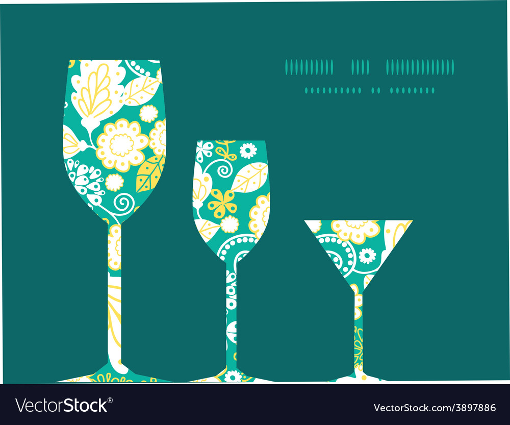 Emerald flowerals three wine glasses vector | Price: 1 Credit (USD $1)