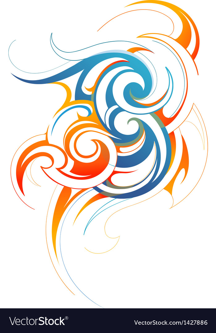 Fire and water fusion vector | Price: 1 Credit (USD $1)