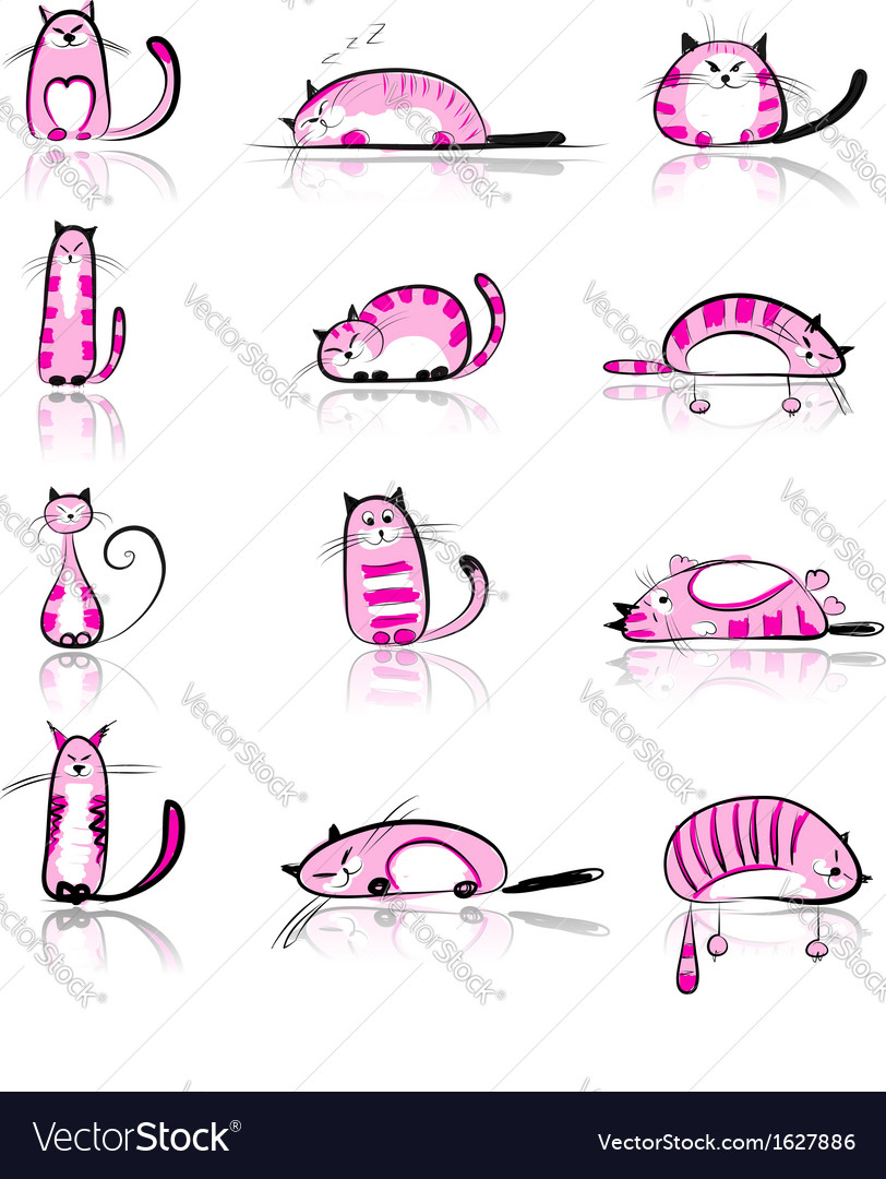 Funny pink cats collection for your design vector | Price: 1 Credit (USD $1)