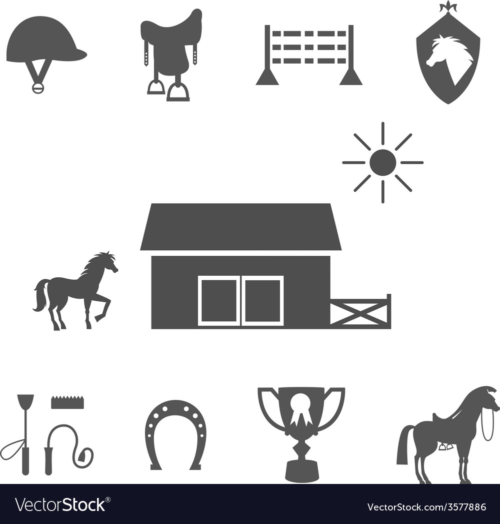 Grayscale horse icons on white background vector | Price: 1 Credit (USD $1)