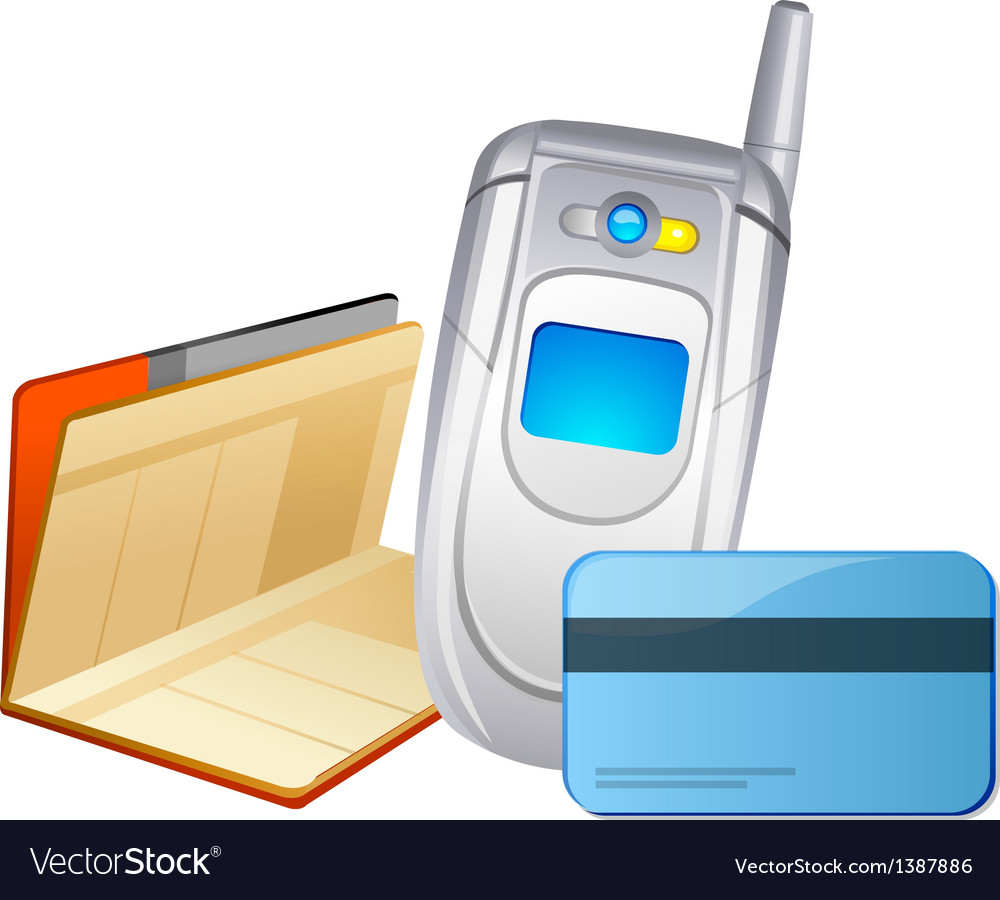 Icon mobile phone and bankbook vector