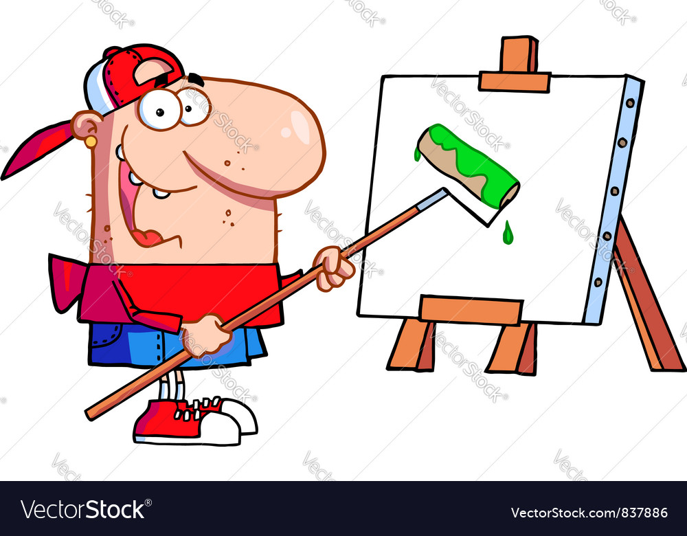 Man using a roller brush to paint a canvas vector | Price: 1 Credit (USD $1)