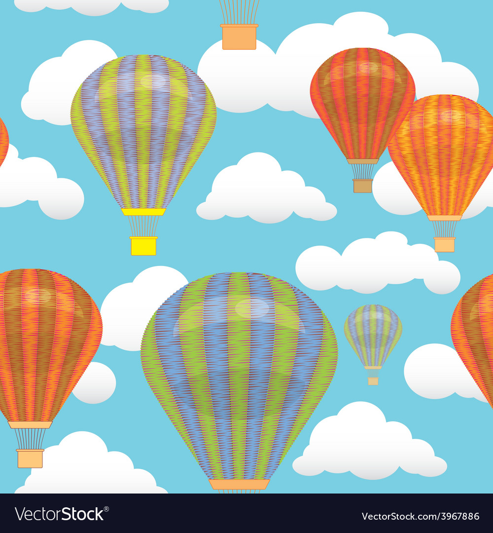 Seamless pattern hot air balloon and clouds in the vector | Price: 1 Credit (USD $1)