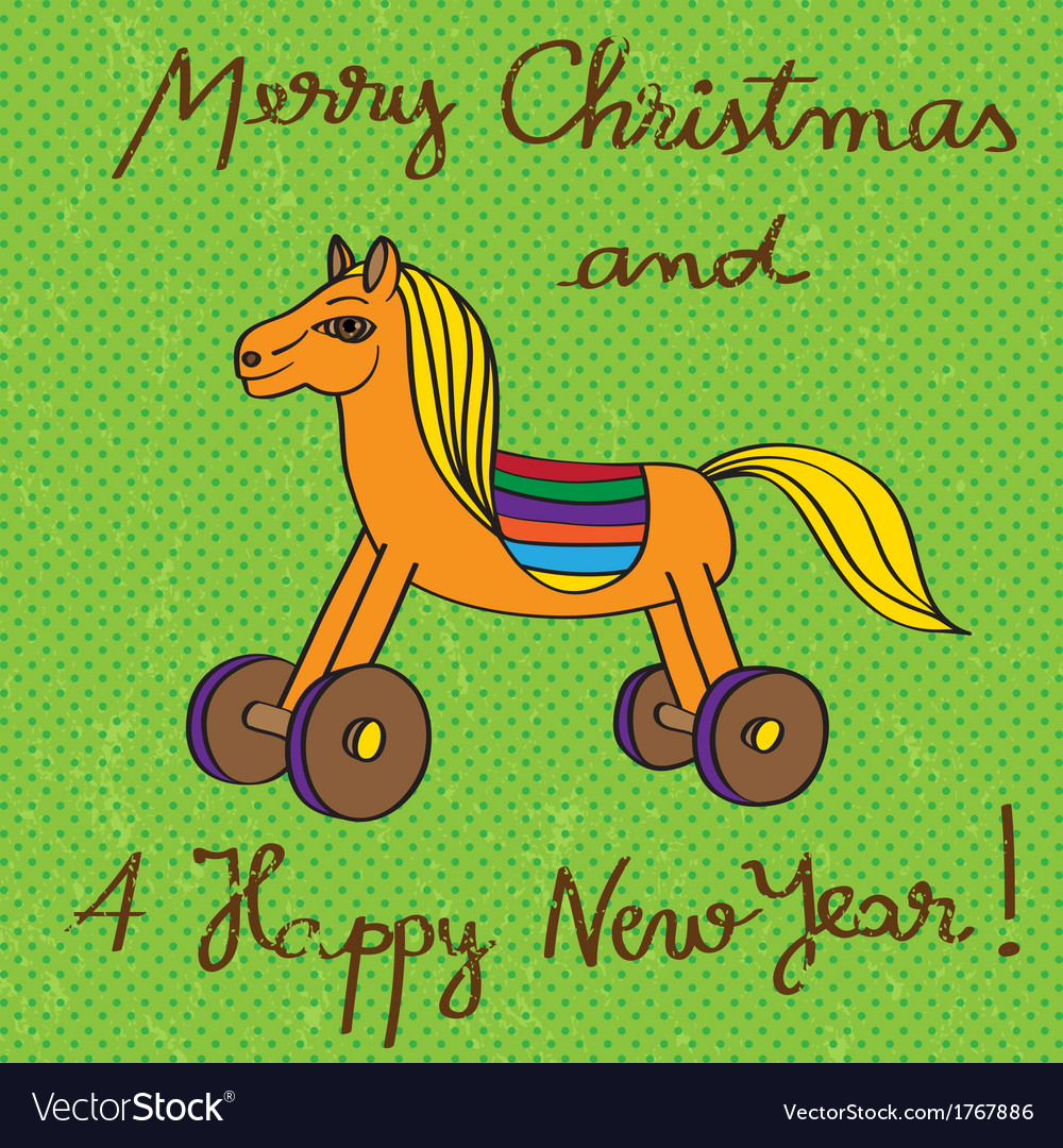 Toy horse greetings card vector | Price: 1 Credit (USD $1)