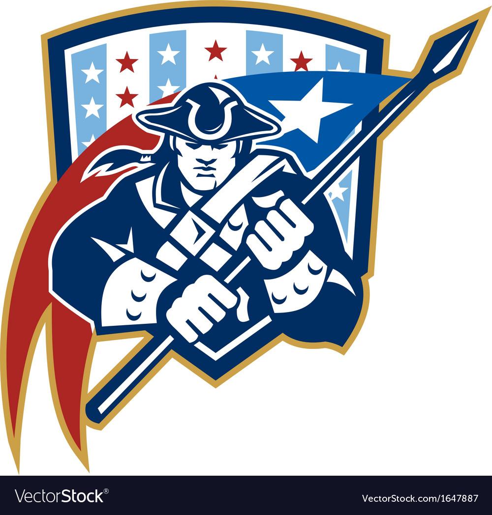 American patriot holding brandish flag crest vector | Price: 1 Credit (USD $1)
