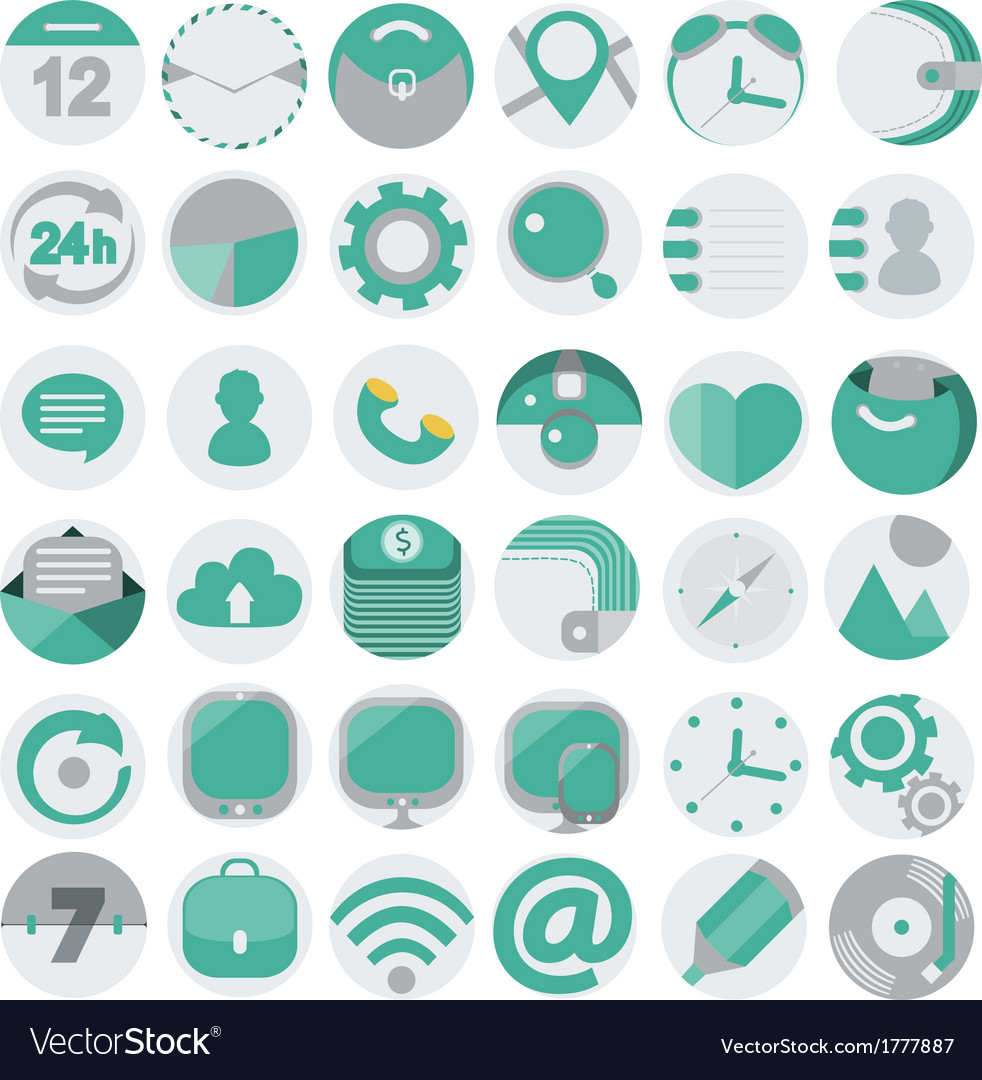 Business flat icons set 1 vector | Price: 1 Credit (USD $1)