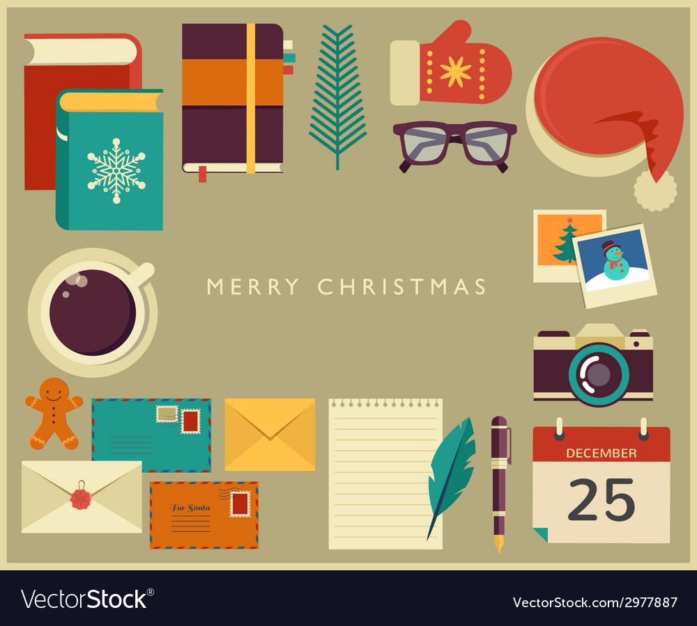 Christmas santas desktop flat design vector | Price: 1 Credit (USD $1)