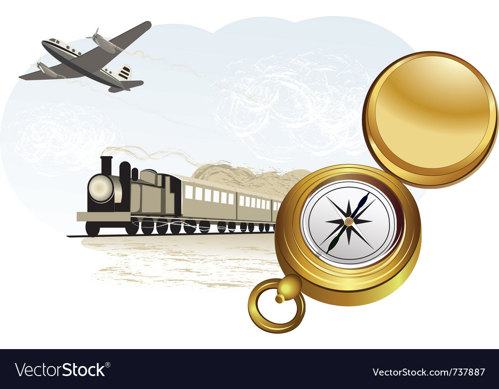 Compass train and plane vector | Price: 3 Credit (USD $3)