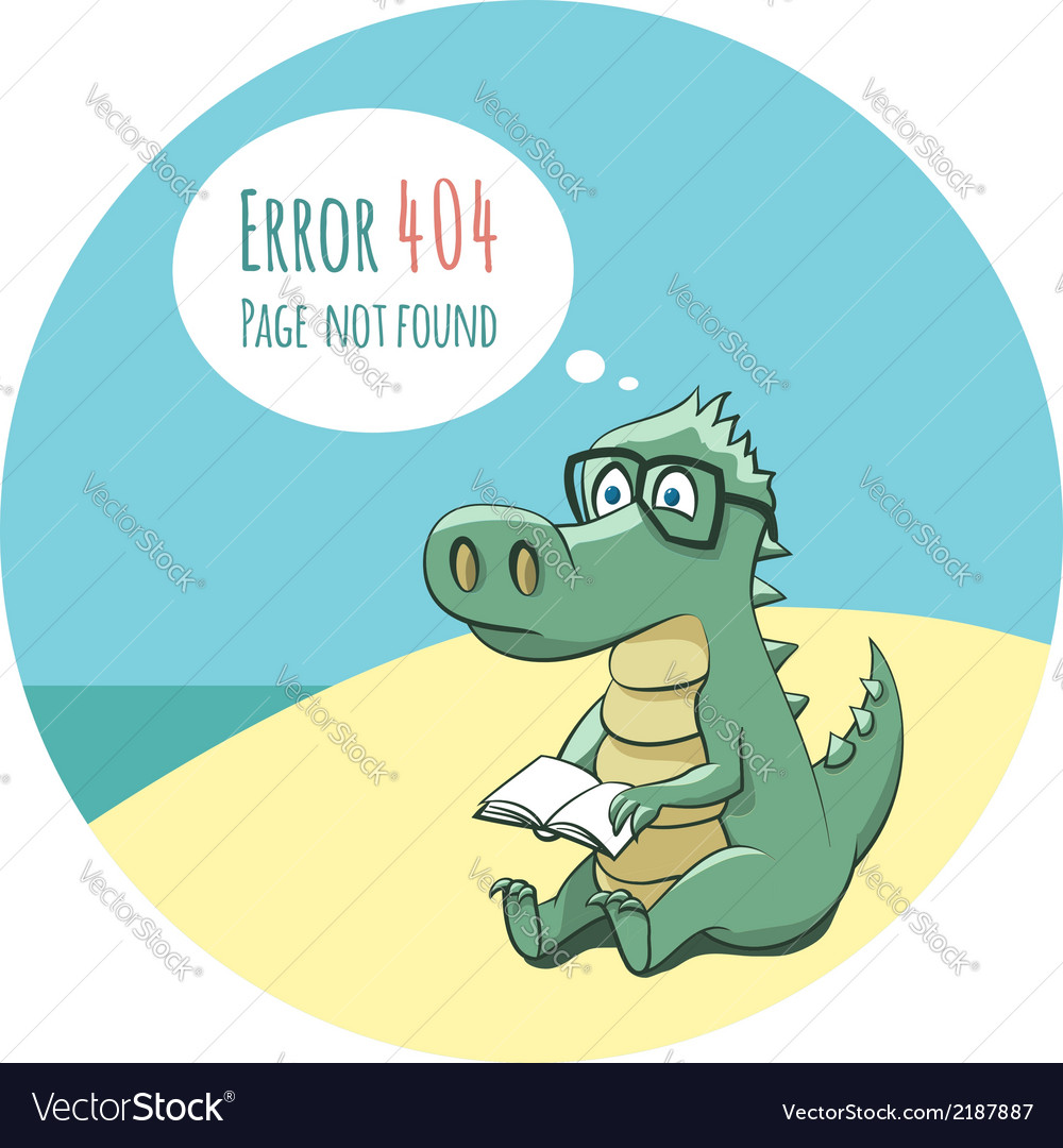 Crocodile with a book - error 404 vector | Price: 1 Credit (USD $1)