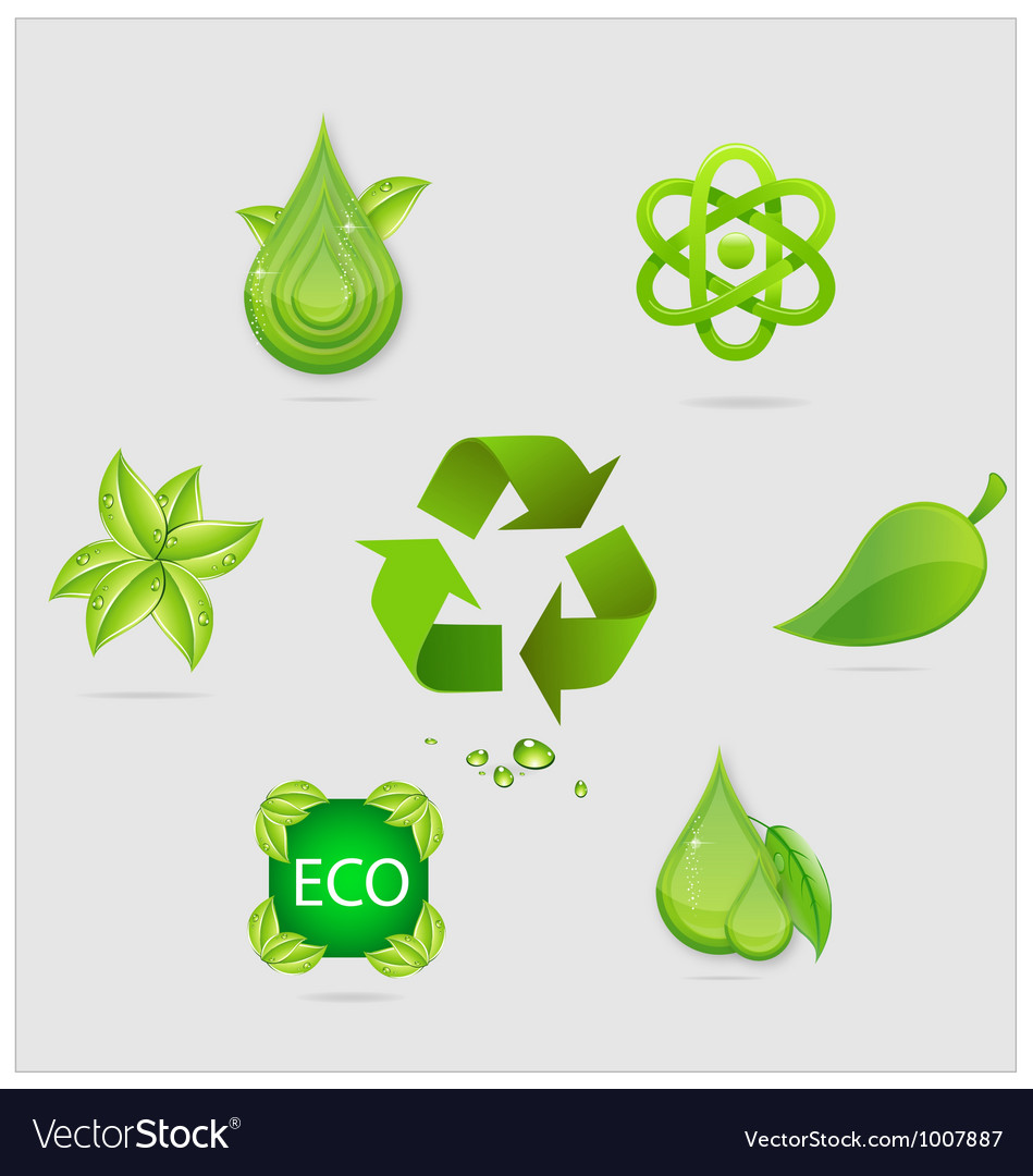 Eco symbols and emblems set green color vector | Price: 1 Credit (USD $1)