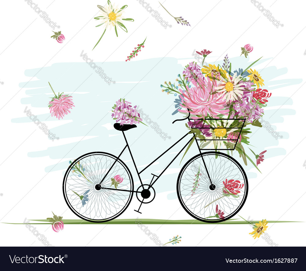 Female bicycle with floral basket for your design vector | Price: 1 Credit (USD $1)
