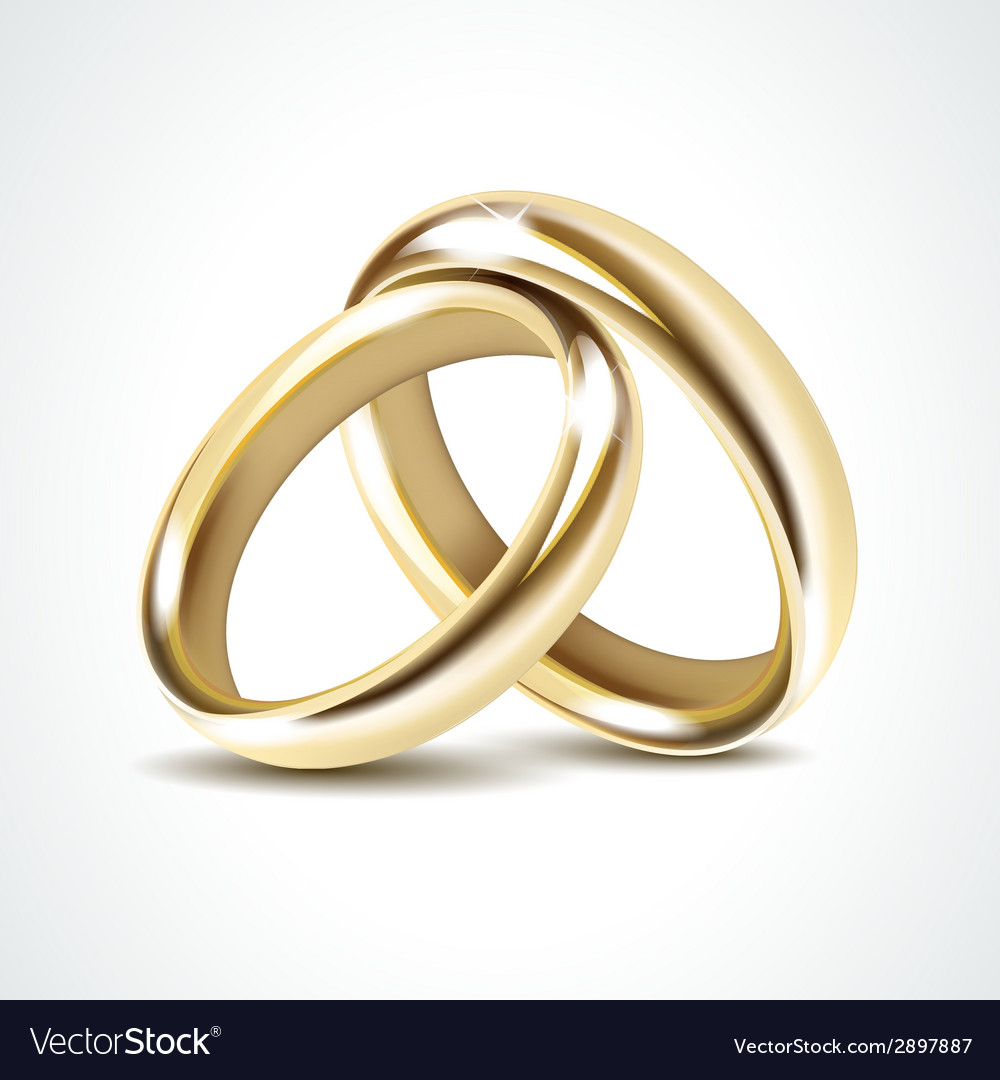 Gold wedding rings isolated vector | Price: 1 Credit (USD $1)