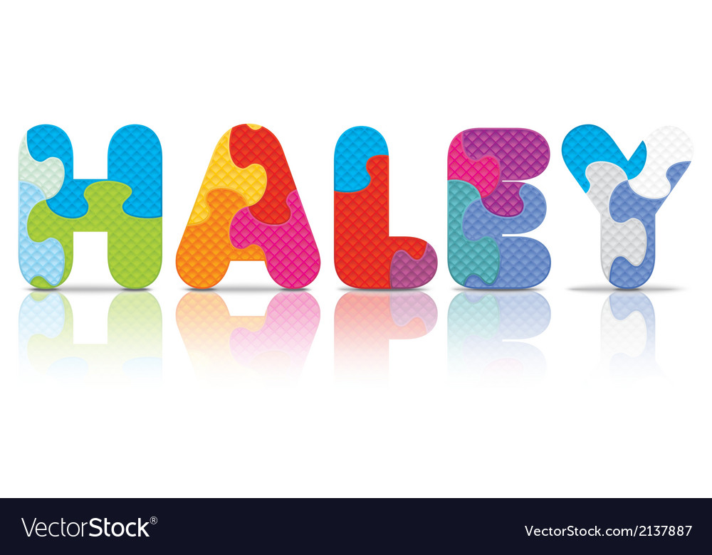 Haley written with alphabet puzzle vector | Price: 1 Credit (USD $1)