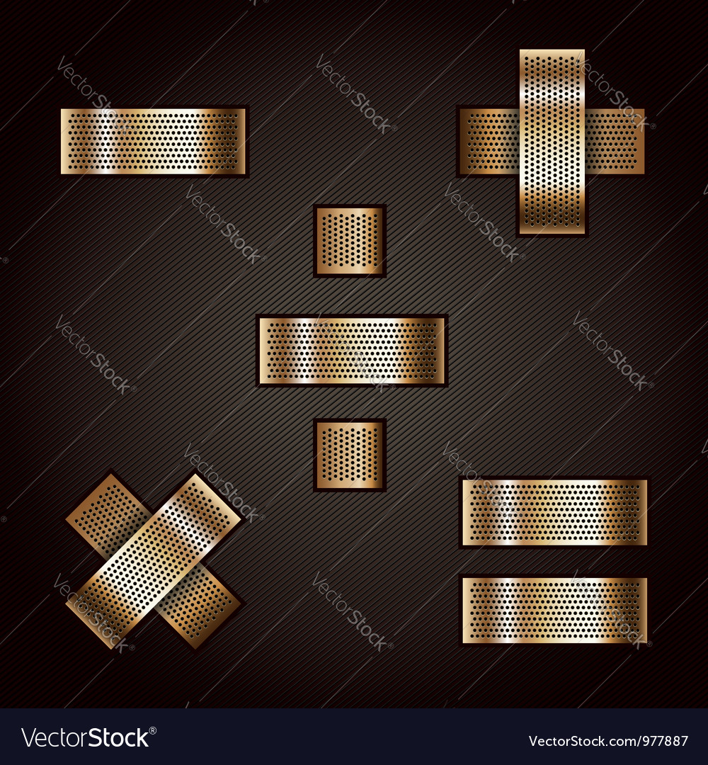 Letter metal gold ribbon - mathematical signs vector | Price: 1 Credit (USD $1)