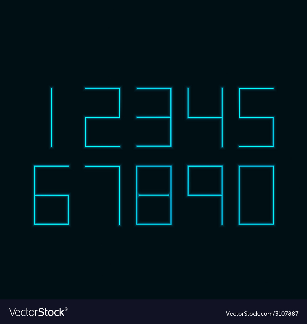 Modern neon numbers on black background vector   Price: 1 Credit (USD $1)