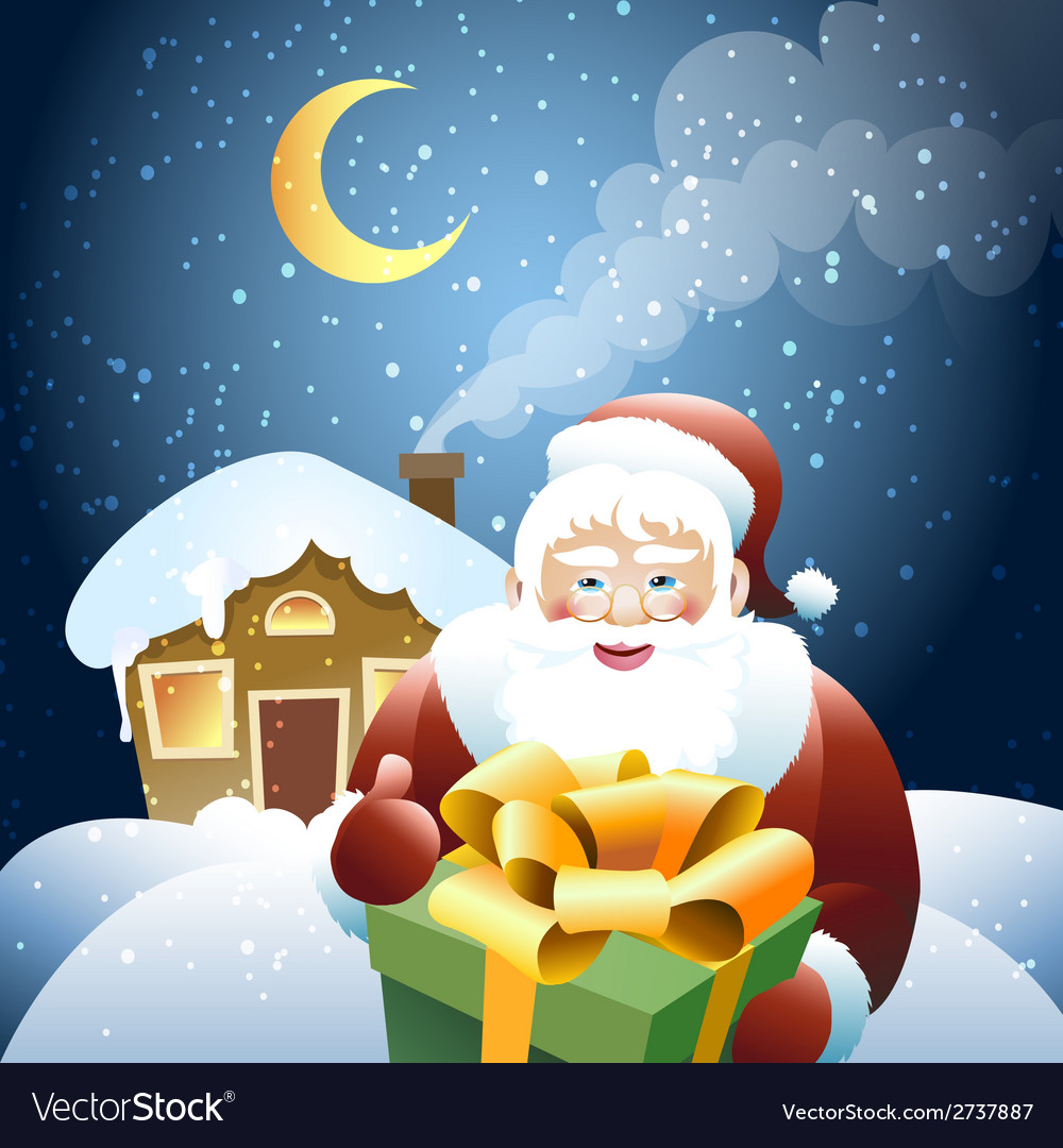 Santa claus with christmas gift vector | Price: 3 Credit (USD $3)