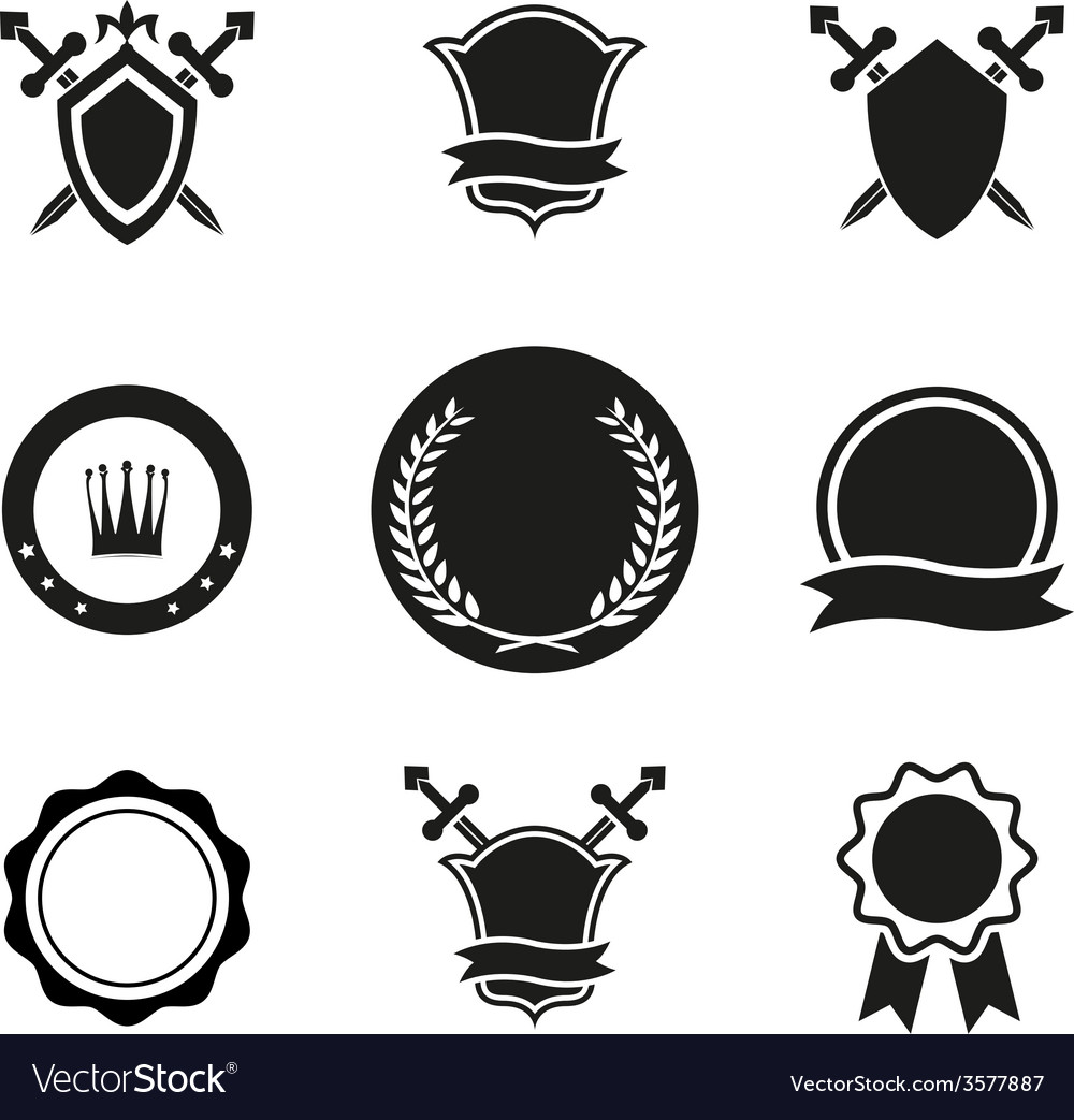 Shields crowns and emblems vector | Price: 1 Credit (USD $1)