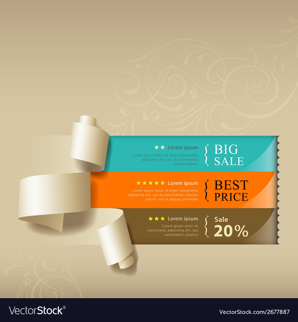 Show colorful paper roll for sales collections vector | Price: 1 Credit (USD $1)