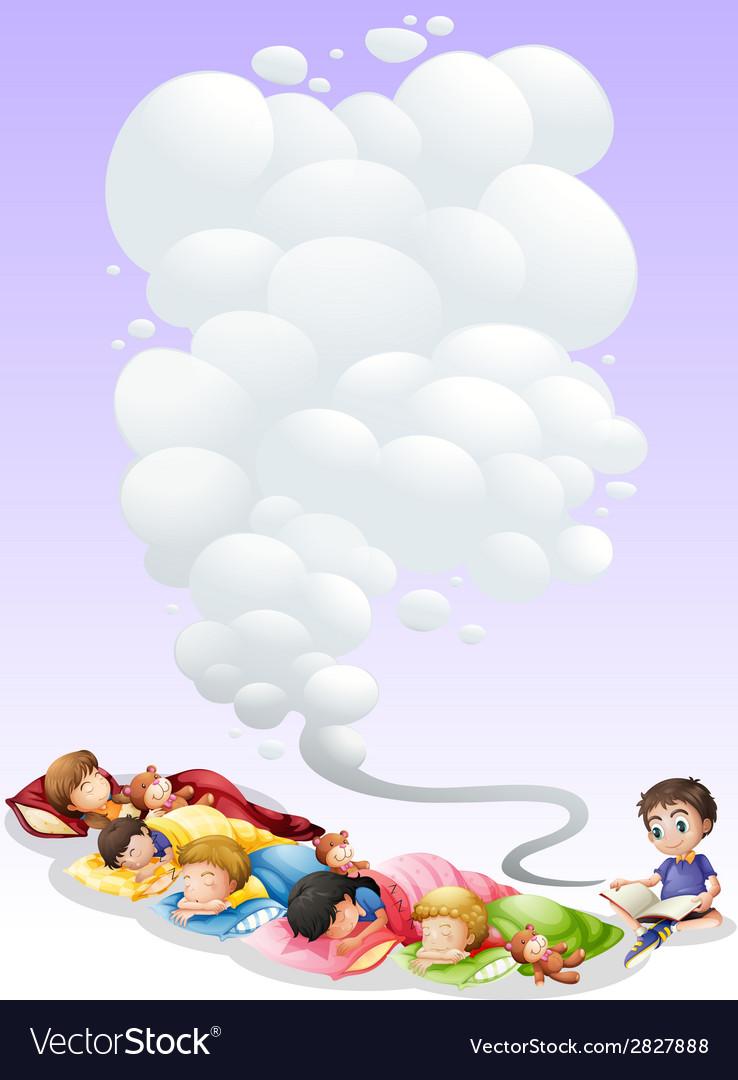 Children taking nap vector | Price: 1 Credit (USD $1)
