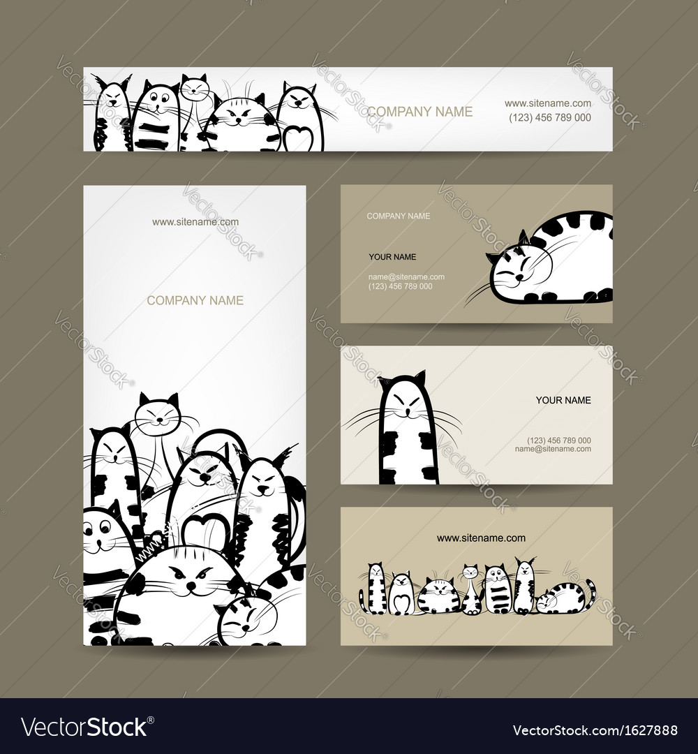 Corporate business cards design with funny striped vector | Price: 1 Credit (USD $1)