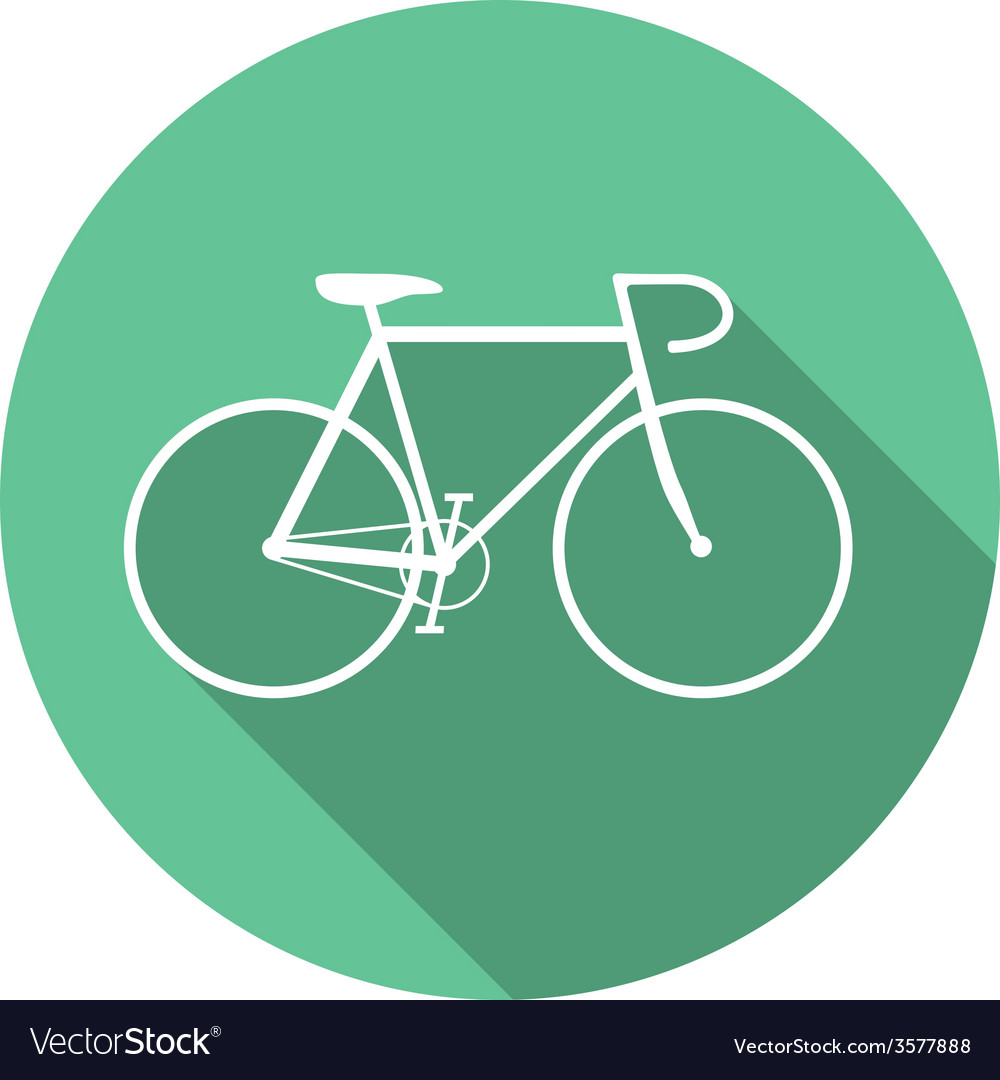 Flat style bicycle inside round green icon vector | Price: 1 Credit (USD $1)