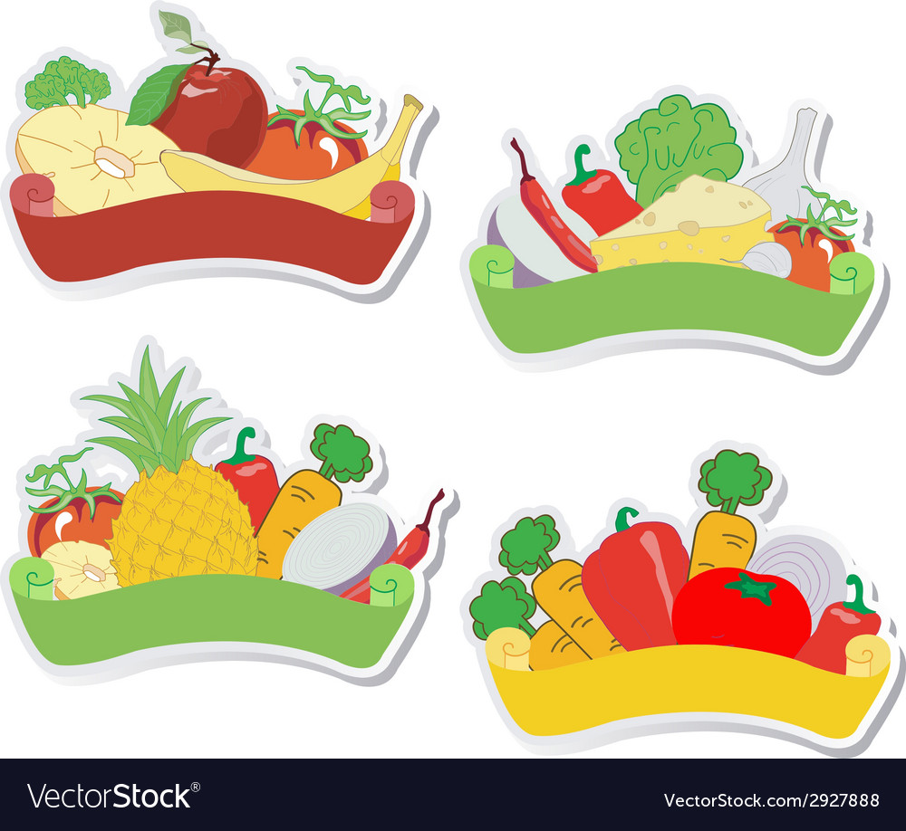 Fruit and vegetables labels vector | Price: 1 Credit (USD $1)
