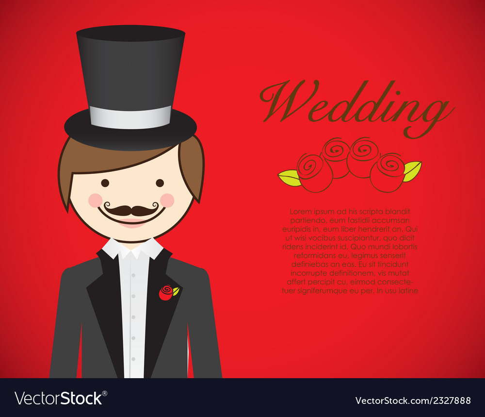 Groom with wedding dress on red background vector | Price: 1 Credit (USD $1)