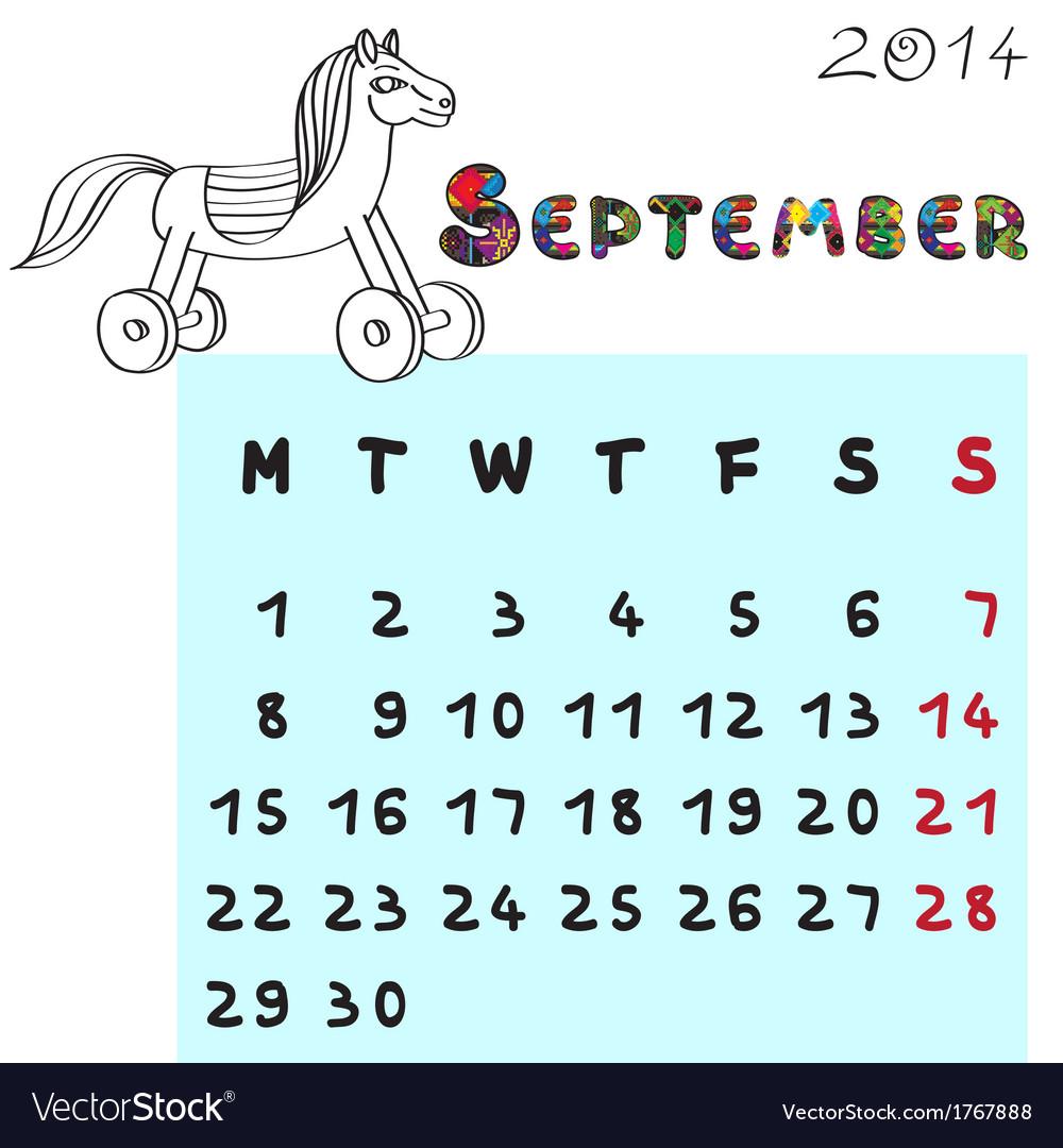 Horse calendar 2014 september vector | Price: 1 Credit (USD $1)