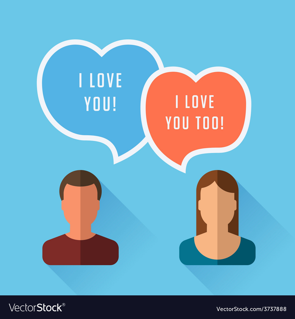 I love you two speech bubble flat vector | Price: 1 Credit (USD $1)