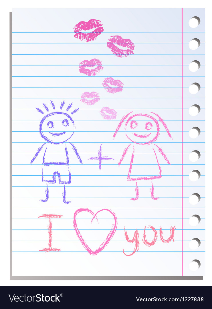 Notebook paper sheet with lips imprint vector | Price: 1 Credit (USD $1)