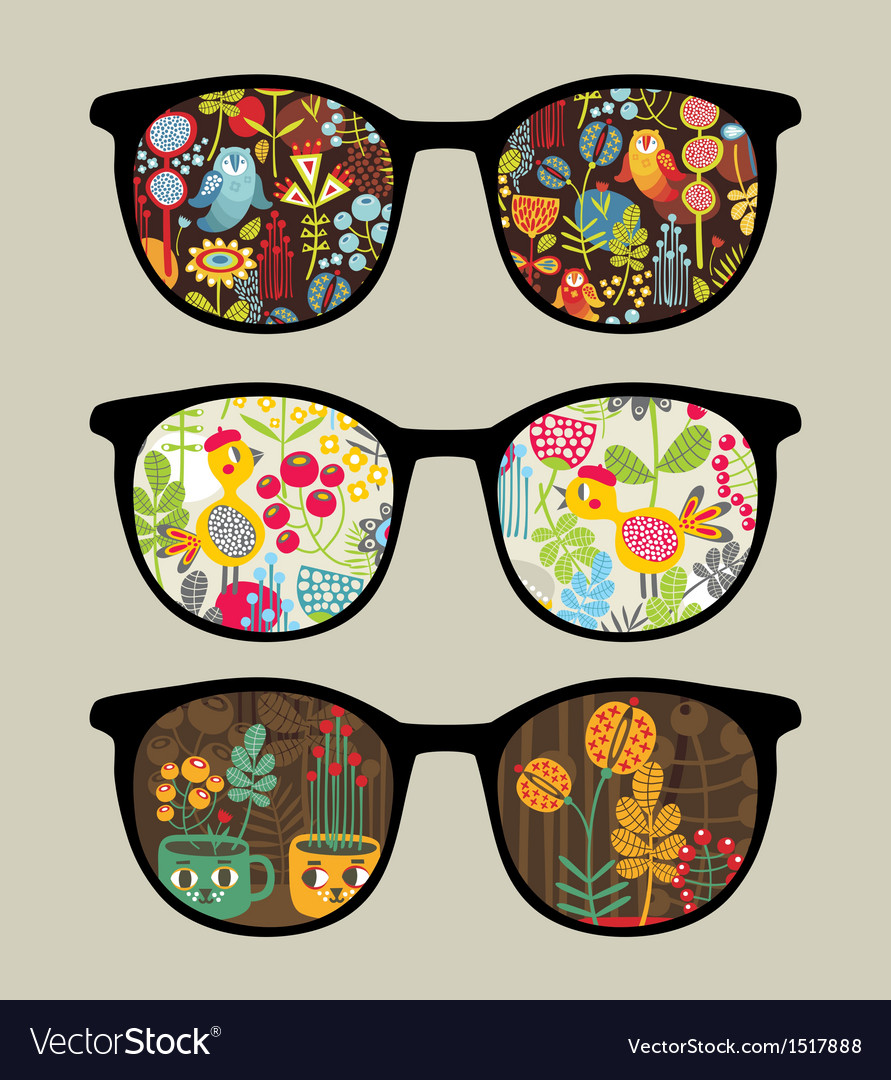 Retro sunglasses with nature reflection in it vector | Price: 1 Credit (USD $1)