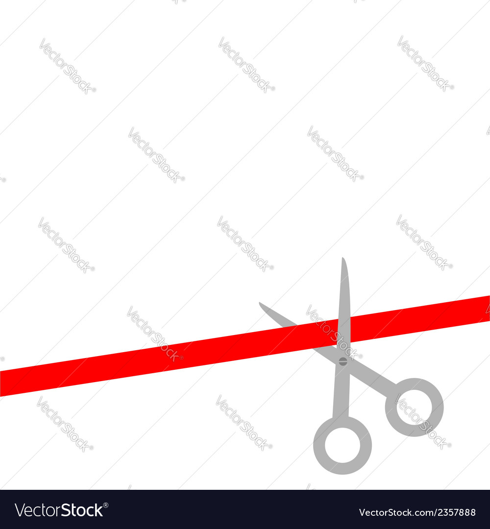 Scissors cut straight red ribbon on the right flat vector | Price: 1 Credit (USD $1)