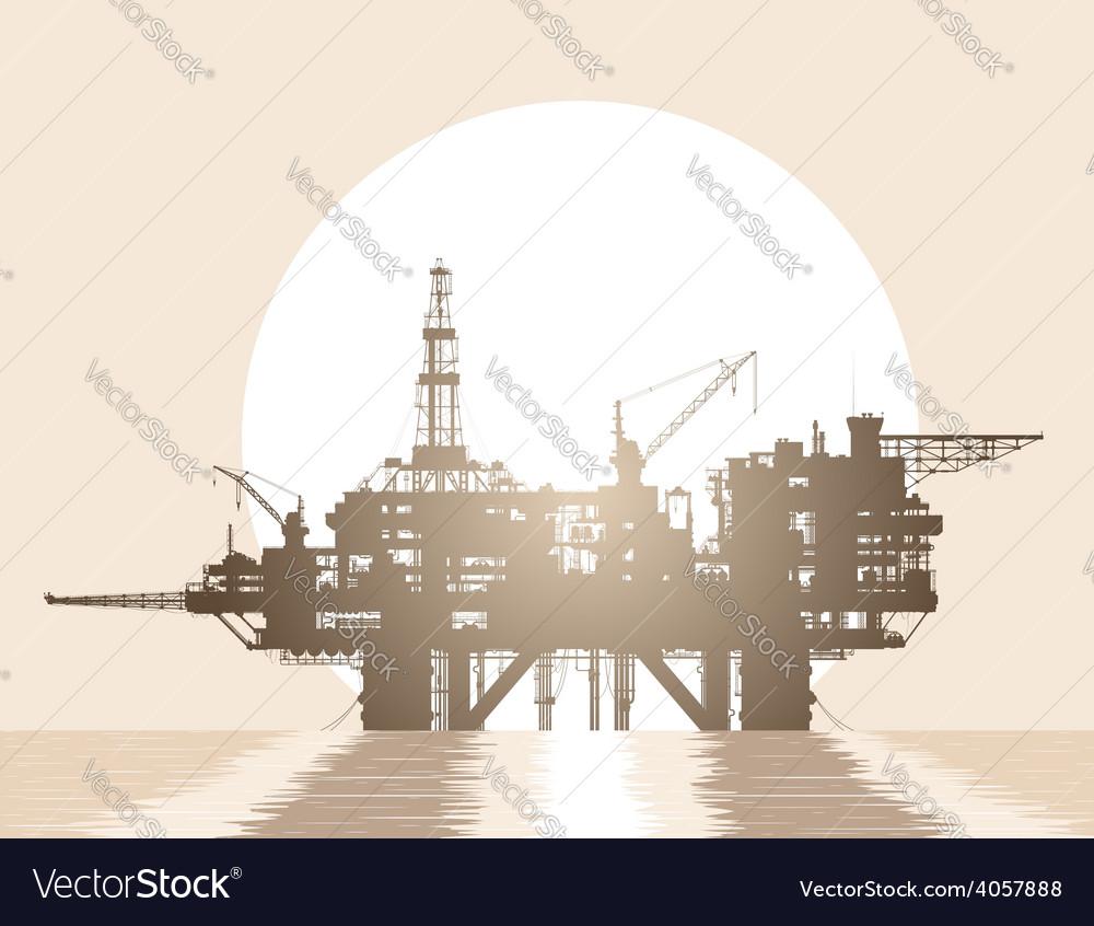 Sea oil rig oil platform in the sea vector | Price: 1 Credit (USD $1)