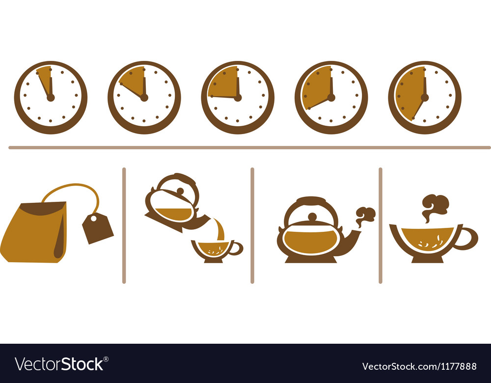 Tea brewing scheme cup time teapot and tea bags vector | Price: 1 Credit (USD $1)