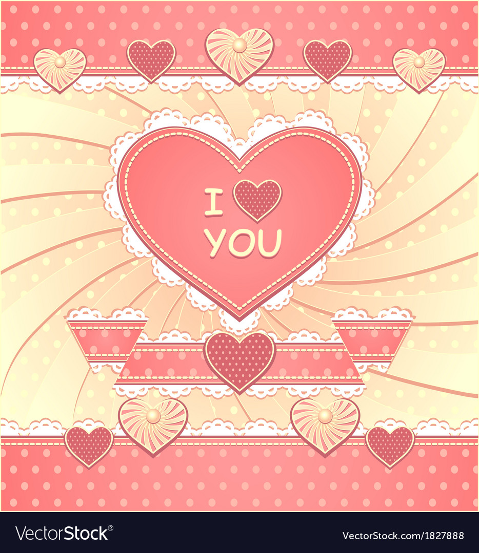 Valentines card with hearts and scrapbooking eleme vector | Price: 1 Credit (USD $1)