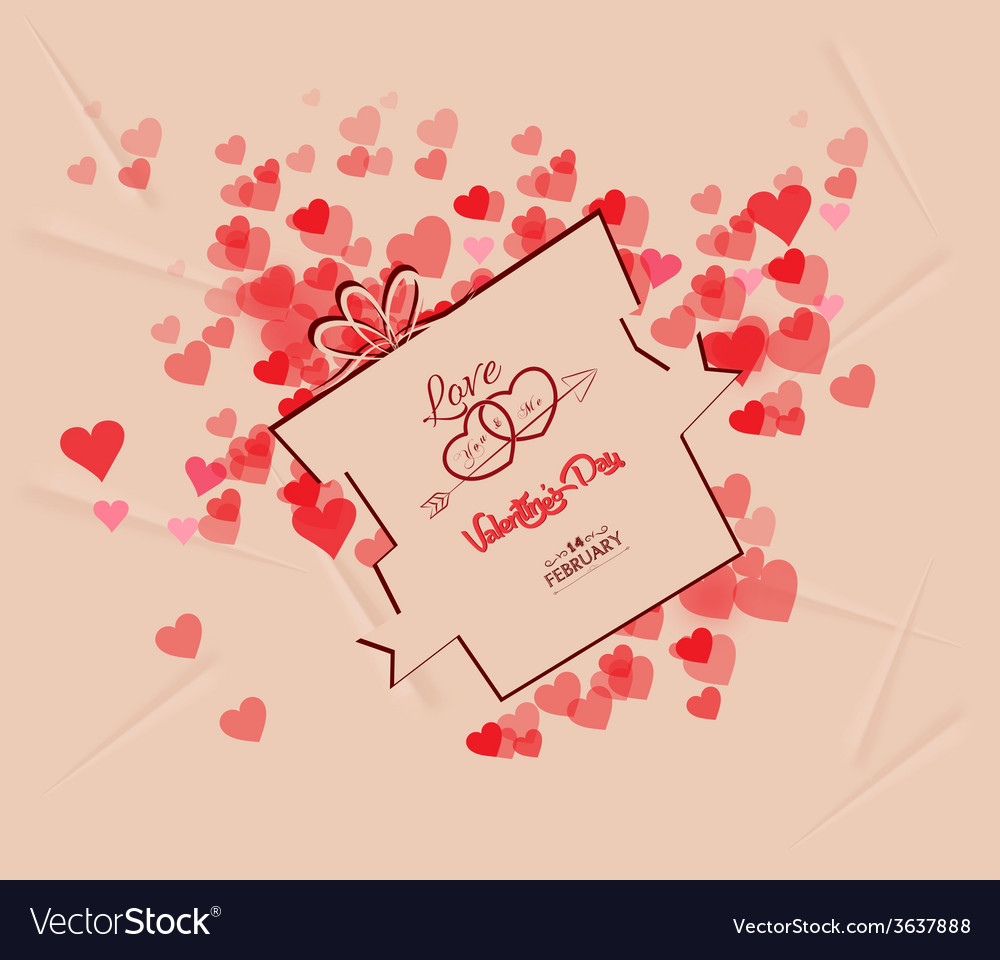 Valentines day gift background retro vector | Price: 1 Credit (USD $1)