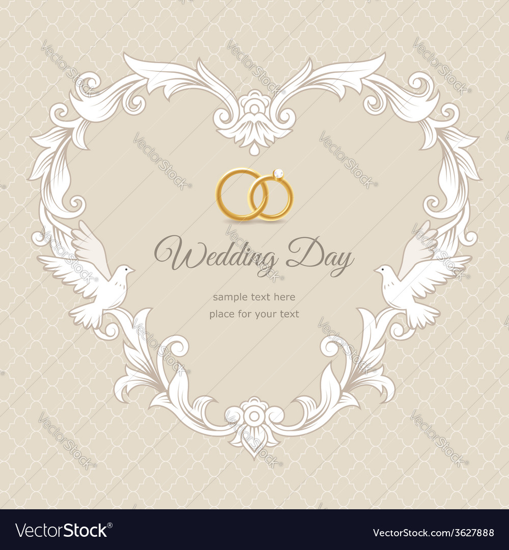 Wedding heart frame gold vector | Price: 1 Credit (USD $1)