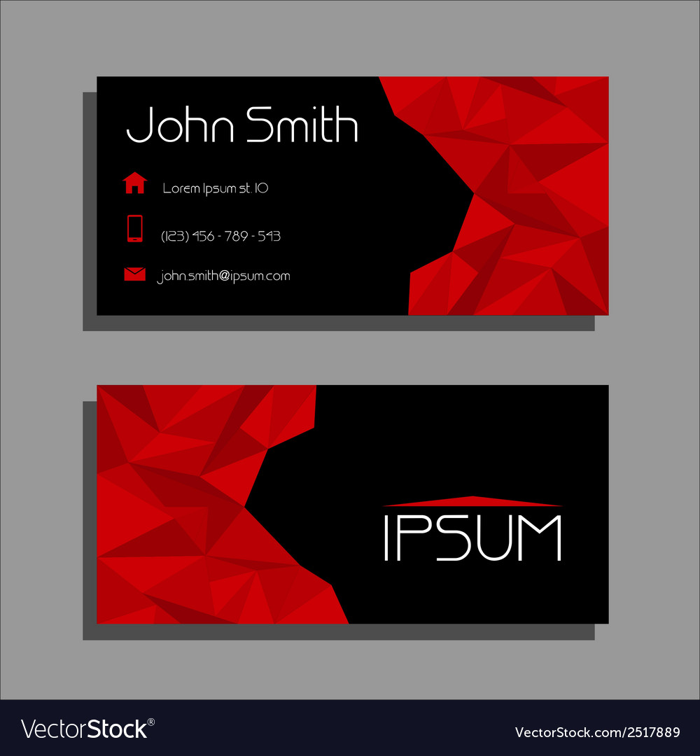 Business card polygon style - red and black vector | Price: 1 Credit (USD $1)