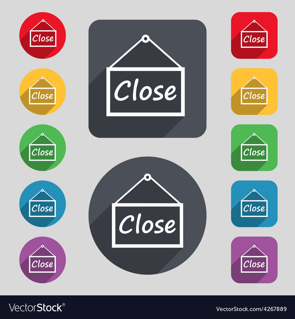 Close icon sign a set of 12 colored buttons and a vector | Price: 1 Credit (USD $1)