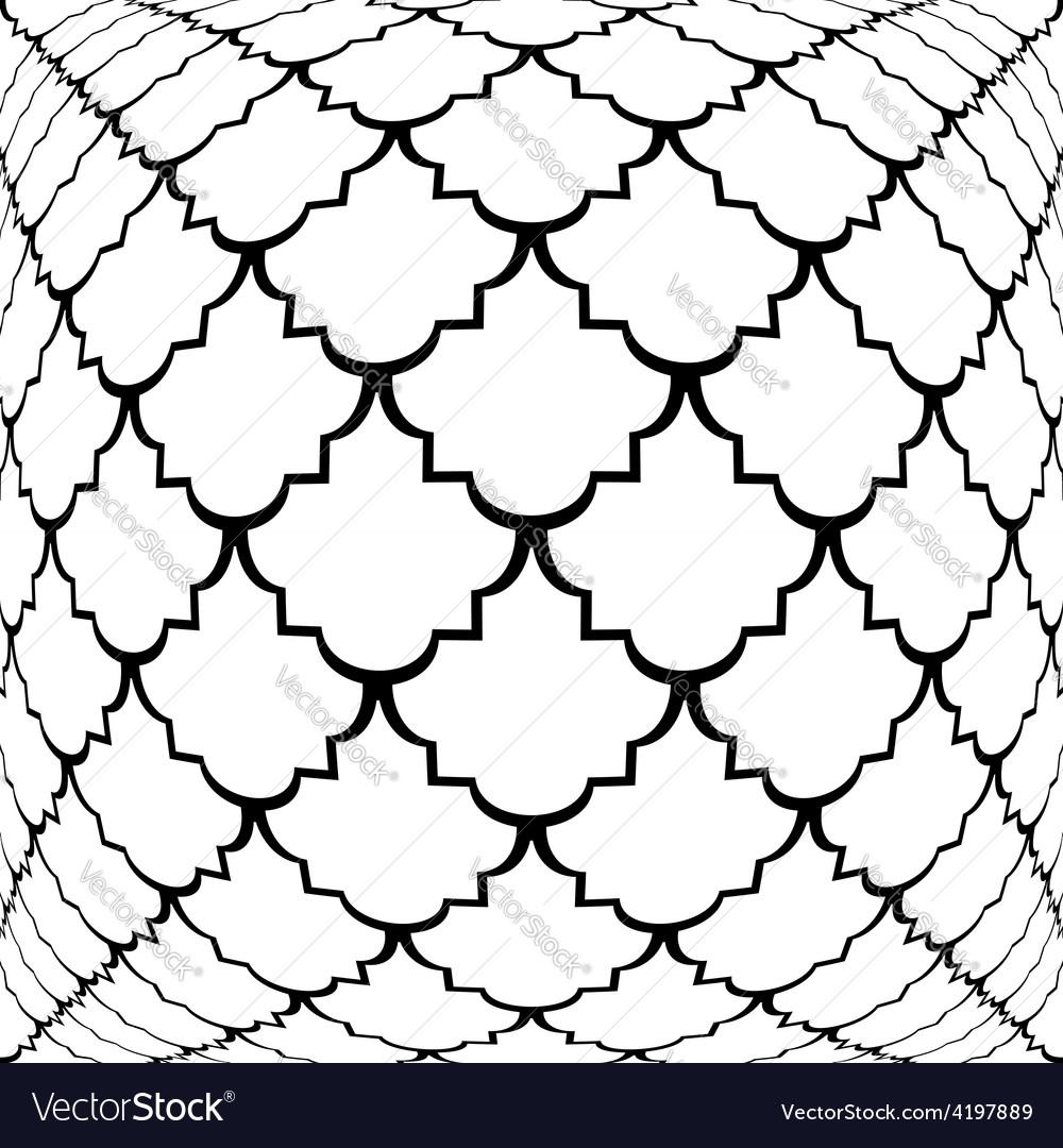 Design warped monochrome convex pattern vector | Price: 1 Credit (USD $1)