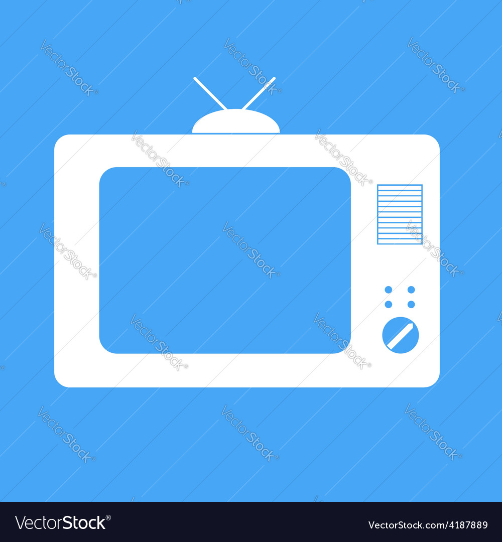 Icon tv on a blue background vector | Price: 1 Credit (USD $1)
