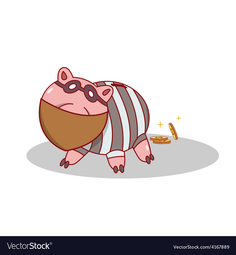 Isolated cartoon piggy bang burglar stealing money vector | Price: 1 Credit (USD $1)