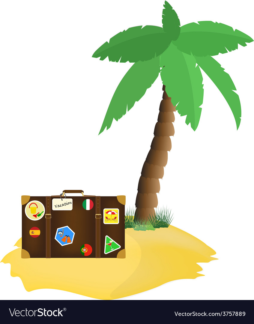 Palm tree and tourist bag vector | Price: 1 Credit (USD $1)