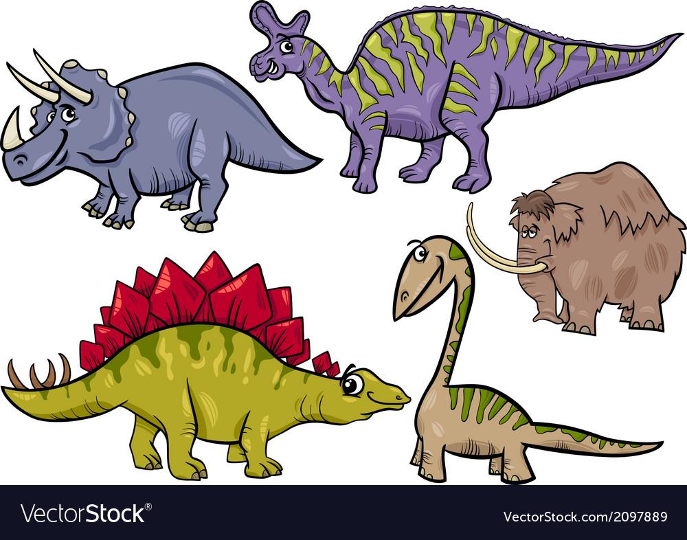 Prehistoric set cartoon vector | Price: 1 Credit (USD $1)