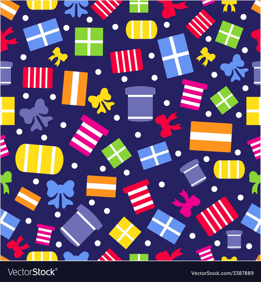 Seamless pattern with gift boxes and bows vector | Price: 1 Credit (USD $1)