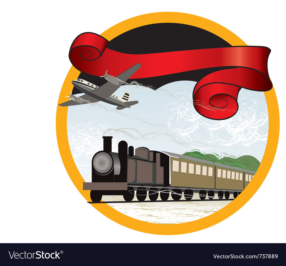 Travel by train and plane vector | Price: 3 Credit (USD $3)