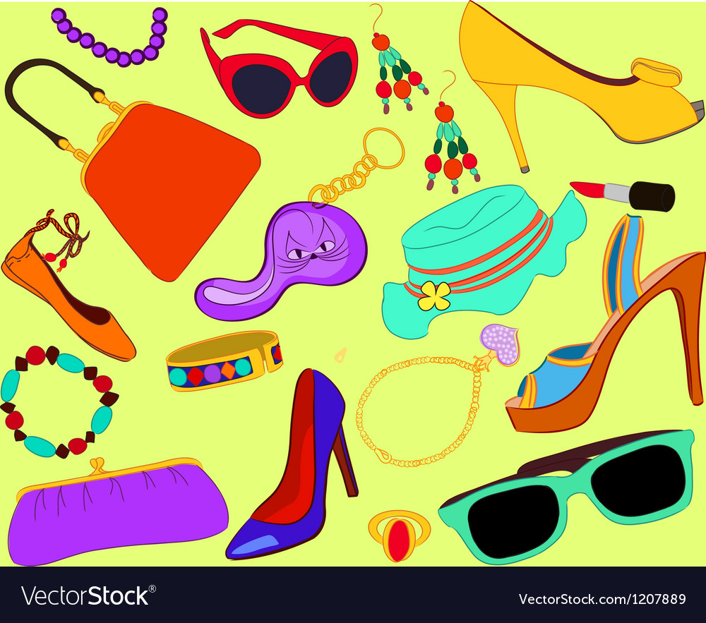 Womans accessory set vector | Price: 1 Credit (USD $1)